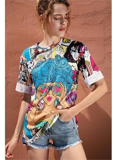 Pattaya Pattaya Kadın Baskılı Oversize Yırtmaçlı Kısa Kollu Tişört Y20S110-0387 Renkli